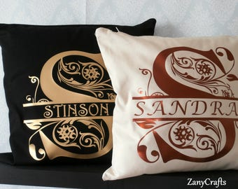 Personalised Monogrammed Cushion Cover/Cushion Customised in Various Colours All Made in the UK
