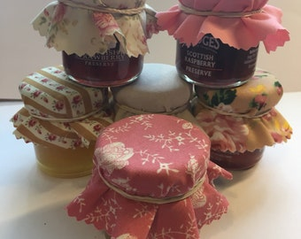 Wedding Favour Fabric Mini Jam Jar Lid Top Covers X 50 Blush Cream and Gold Jam Pot Covers Fabric Jar Covers Mini Jar Covers with twine and