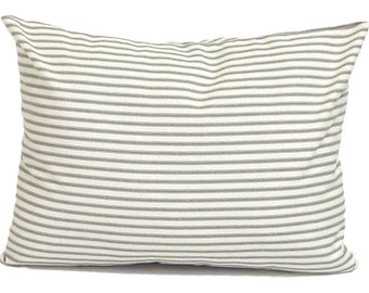 Ticking Stripe Pillow Covers, French Ticking Decorative Pillow, Charcoal Throw Pillow, Cushion,  Charcoal Grey.12x18 or 12x16 inch Lumbar