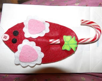Cute red felt mice candy cane holder Christmas ornament - xmc2
