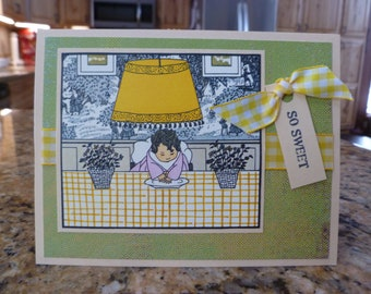 Toddler all-ocassion hand made card in yellow and green, repurposed from old book.