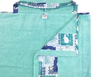 Sea Life Aqua Hooded Towel