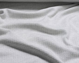 Fabric cotton elastane Jacquard Jersey light grey herring bone 3D-design weave-design