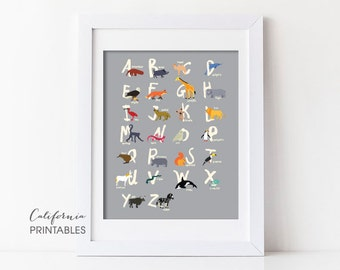 Animal Alphabet Printable, Alphabet Printable, Animal Alphabet Print, Animal Letters, Kid's Room Wall Art, Nursery Wall Art, Alphabet 202