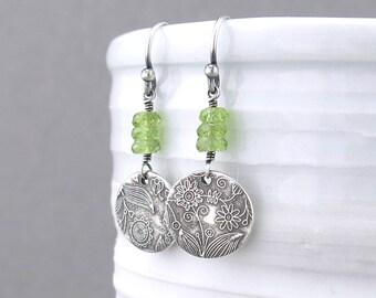Peridot Earrings Dangle Green Earrings August Birthstone Earrings Birthday Jewelry Gift for Her Bohemian Jewelry - Tracey