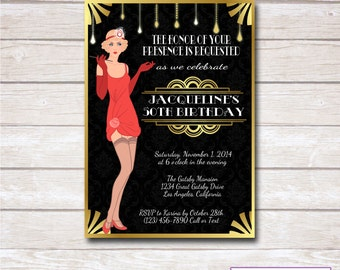 ROARING 20s FLAPPER Birthday Party Invitation - Printable