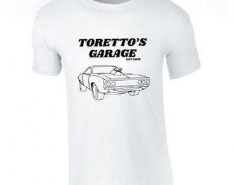 Toretto's garage tee/t-shirt/car clothing/men's clothing/women's clothing/modified