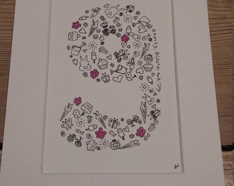 Personalised Letter or Number Illustration