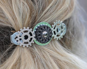 STEAMPUNK HAIR BARRETTE beautiful hairpiece for weddings or christmas with vintage buttons watch parts, black lace, unique gift for her