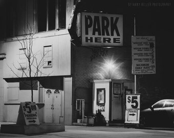 Detroit Photography Black and White Photography Detroit Art Vintage Sign Photography Night Photography 8x10 Print Urban Photography Michigan