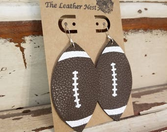Leather Earrings, Leather Jewelry, Football, Sports, Brown, Statement Earrings, 100% Leather, Lightweight,Leaf Shaped, NFL