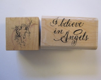 2 rubber stamps - angel, cherub - I believe in Angels - used rubber stamps
