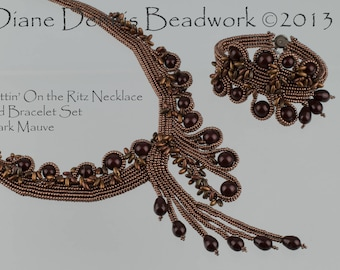 Kit for Puttin' On the Ritz Necklace and Bracelet in Dark Mauve Beads