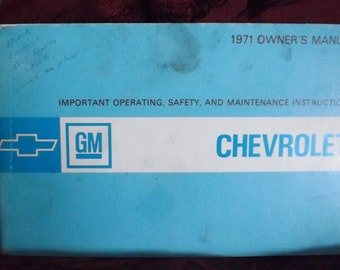 1971 Chevrolet Owners Manual Complete