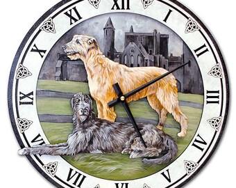 Dog wall clock Irish wolfhound Irish gift Irish wolfhound art Irish wolfhound gift Wolfhound present Wolfhound lover Wolfhound painting А362