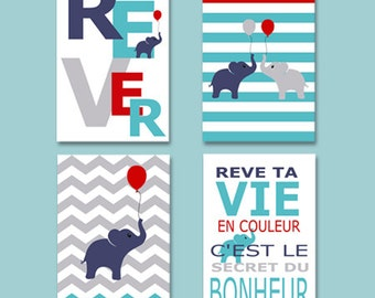 elephant poster - 4 posters to decorate with french words, boy wall decor
