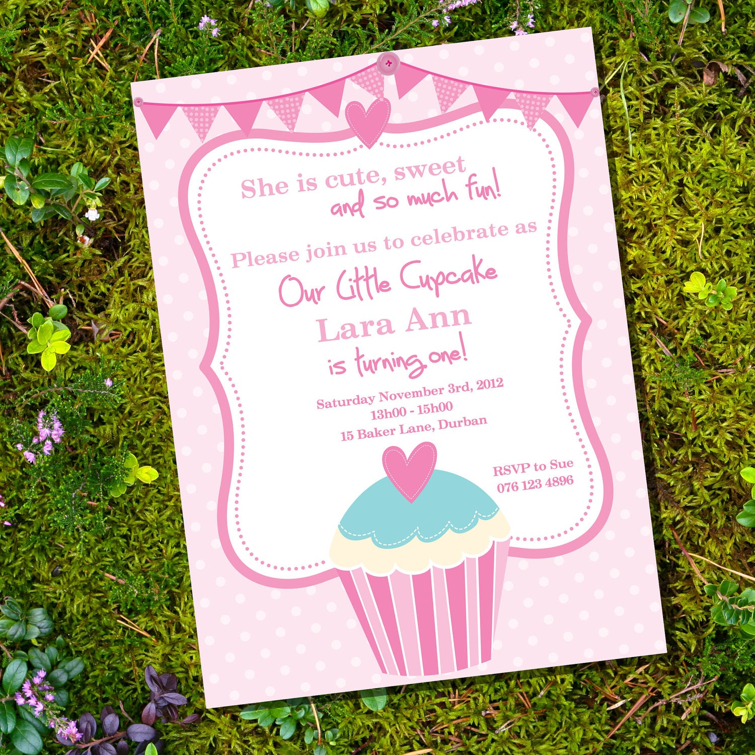Cupcake Party Theme Invitation Only Instantly Downloadable
