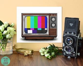 Retro Vintage Wood TV Midcentury Test Pattern Digital Painting Illustration Art Print
