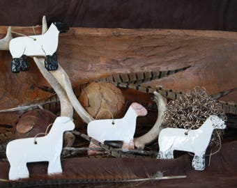 4 Ceramic Show Lambs Dorset Suffolk Speckle Southdown Sheep