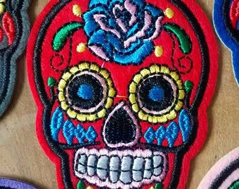 Red Skull Patch embroidery