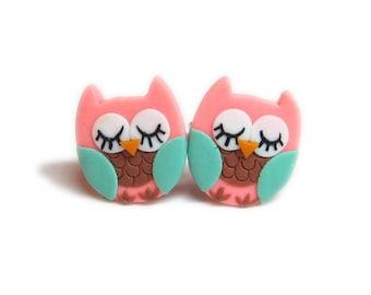 Owl Costume, Owl Earrings, Owl Jewelry, Small Girls Earrings, Polymer Clay Earrings, Polymer Clay Jewelry, Pink Earrings, Cute Earrings Fimo