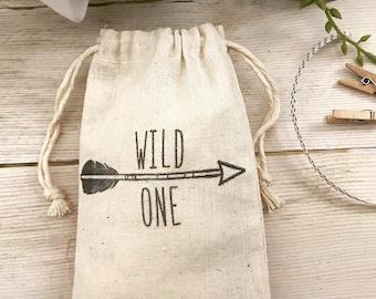 Wild One Bag~Wild One Favor Bag~Arrow Gift Bag~Muslin Favor Bag (3x5 shown)