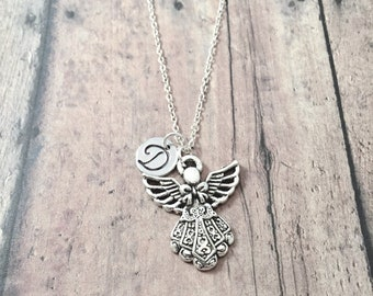 Angel initial necklace - angel jewelry, memorial jewelry, Christian jewelry, heaven necklace, silver angel pendant, angel necklace