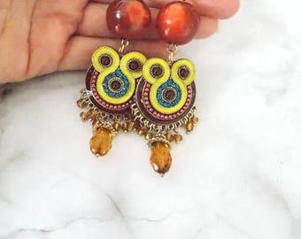 Boho Beaded Drop Clip-On Earrings