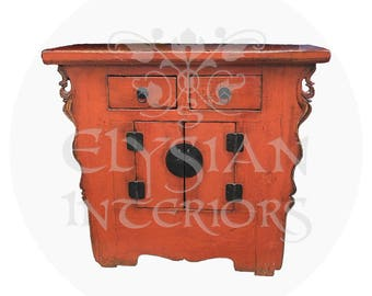 Antique Chinese Asian chest Cabinet 1800's ~19th Century red lacquered ~ Qing Dynasty ~ accent for your living or entry room