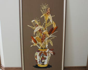 Harvest Fall Crewel Embroidery, Native American Cochina on Vase with Floral Arrangement Yarn Art