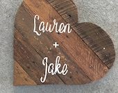 Wood pallet wedding Guest book Alternative sign- wood wedding decor- up-cycled pallet handmade event Guest book-Heart shaped pallet sign