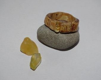 Wood & rock crystal ring