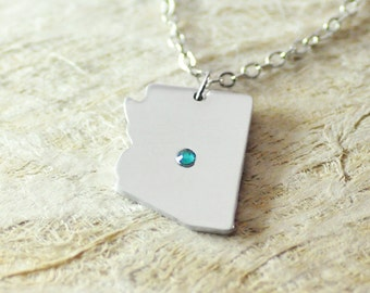 Arizona  Necklace birthstone alloy 925 sterling silver  Pendant State Necklace State Charm Map necklace Map Jewelry
