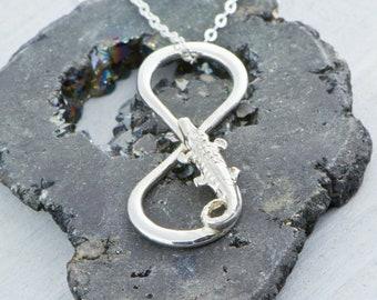 Gator Necklace, Gator Charm Necklace, Silver Gator Jewelry, Alligator Jewelry, Gator Pendant, Alligator Infinity Necklace