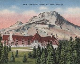 Mount Hood, Oregon - View of the New Timberline Lodge #2 (Art Prints available in multiple sizes)