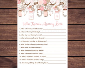 Pink Floral Mason Jars Who Knows Mommy Best, Baby Shower Who Knows Mommy Best, Mason Jar Instant Download  Printable233