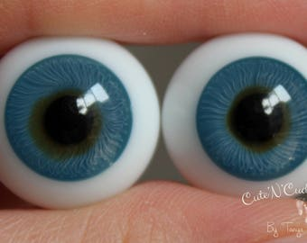 Lauscha German Glass Eyes - Solid Flatback - 20mm - Turquoise