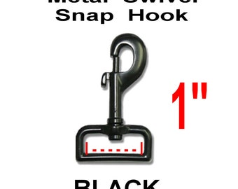 "10 PIECES - 1"" - BLACK Coated Metal Swivel Snap Hooks - Purse Strap Clip - 1 inch"