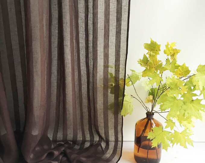 """102"""" Wide curtain panel, Linen Curtain, Brown Curtains, Sheer Window Curtains and Drapes, Chocolate Curtains for living room, drapery"""