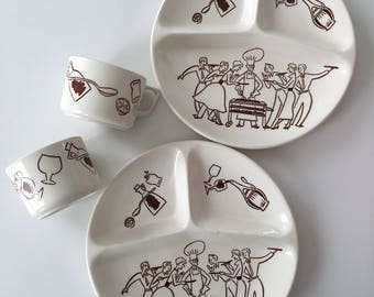 1950s Retro BBQ Line Illustration Set of Sectional Plates and Cups
