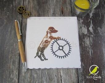 Steampunk Puppy Blank Card, Puppy Card, Steampunk Card, UK
