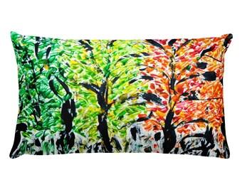 Seasons Trees Rectangular Pillow