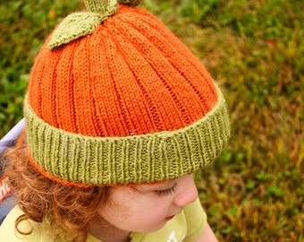 Pumpkin Pack Patterns - Knit and Crochet versions of pumpkin hat - Digital Download