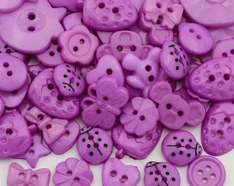 Purple Button Mix  - Mixed Shapes and Sizes - #BUTTON397