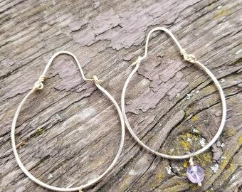 Hammered Hoop Earrings with Faceted Amethyst