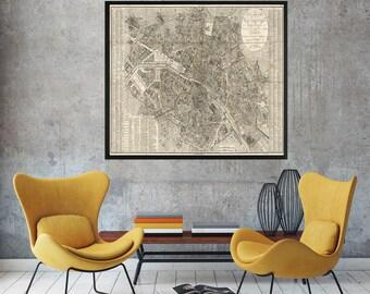 Paris Map, 1823, Old Map of Paris, Map of Paris, Paris Old Map, Old Paris Map, Vintage Paris Map, Paris Map Print, Vintage Map of Paris