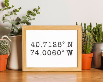 Personalized Coordinates Print, Latitude Longitude print, Coordinate Art Custom, Coordinate Gifts for Couple, Coordinate Gifts for Men.