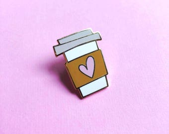 coffee cup pin hard enamel pin for her valentines day gift for mom best friend coffee lover pin valentine lapel pin gift for her pink heart