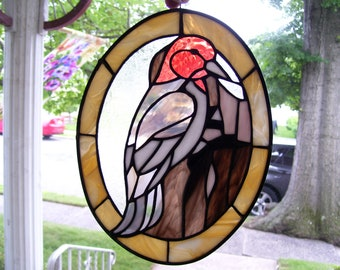 Stained Glass Red-headed Woodpecker Sun catcher