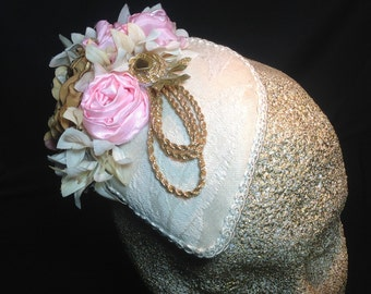 Pink and gold floral teardrop fascinator headpiece
